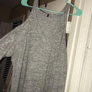 Cold shoulder grey cotton dress